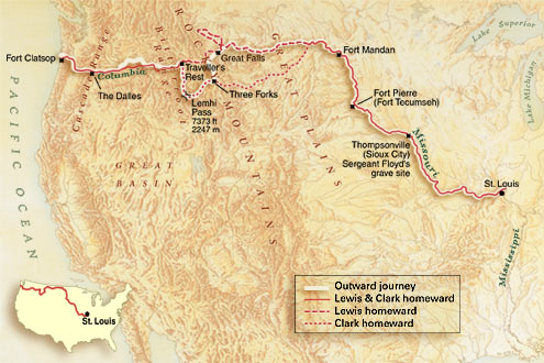 an overview of the lewis and clark expedition across the us between 1804 and 1805